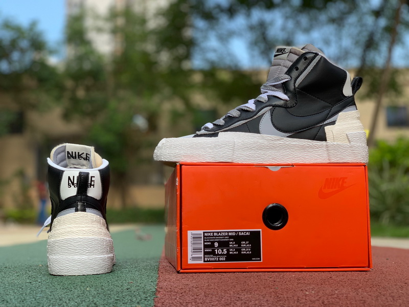 Authentic Sacai X Nike Blazer with Dunk Gray black