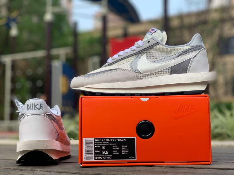 Authentic Sacai X Nike LVD WAFFLE gray white WOMEN